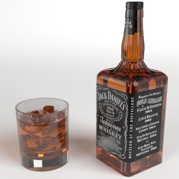 Jack Daniel's whiskey on the rocks - 3DOcean Item for Sale