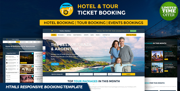 Vacation Hotel and Tour Ticket Booking On the internet HTML5 Responsive Template (Travel)