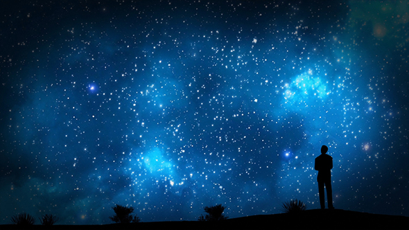 VideoHive Milky Way Night Sky Stars With Silhouette Of a Businessman 19450467
