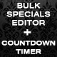 Bulk specials editor + the countdown timer