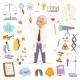 Science Man Professor Lab Icons Vector