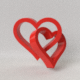 3D love 2 braided hearts valentines day