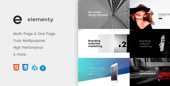 Elementy - Multipurpose One & Multi Page Drupal 7 - 8 Theme