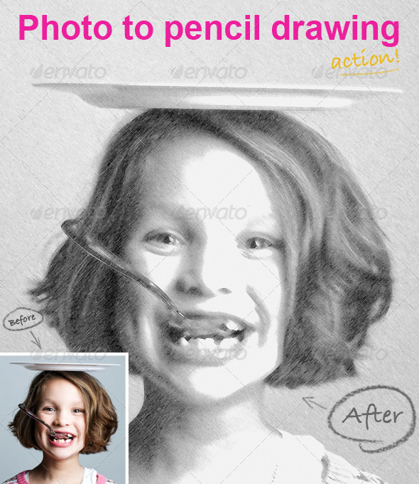 GraphicRiver Photo To Pencil Drawing PS ACTION 224388