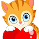 Kitten with Heart Valentine