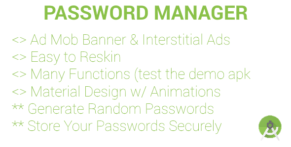 Password Manager & Generator (ADMOB Banners & Interstitials)