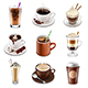 Coffee Drinks Icons Vector Set