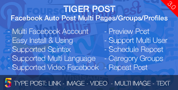 Tiger Post - Facebook Auto Post Multi Pages/Groups/Profiles - CodeCanyon Item for Sale
