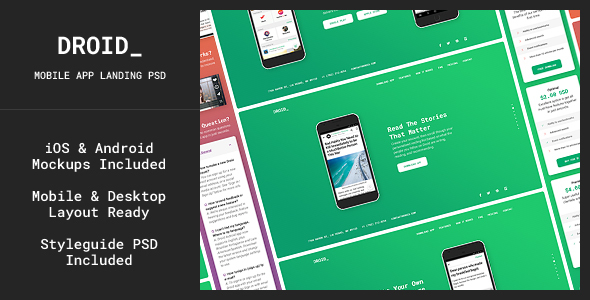 Droid — Mobile App Fullscreen Landing Page PSD Template