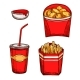 Fast Food Snacks, Drinks Vector Isolated Icons