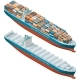 Container Ship Laden and Empty Isometric Icon Set
