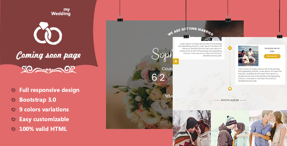 myWedding – Coming Quickly HTML Template (Wedding)