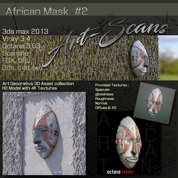3DOcean Art Scans African Mask #2 19458945