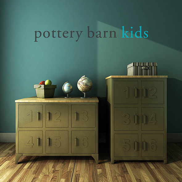 3DOcean Pottery Barn Kids Metal and Wood Numbers Cabinet 19459100