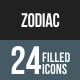 Zodiac Flat Round Corner Icons
