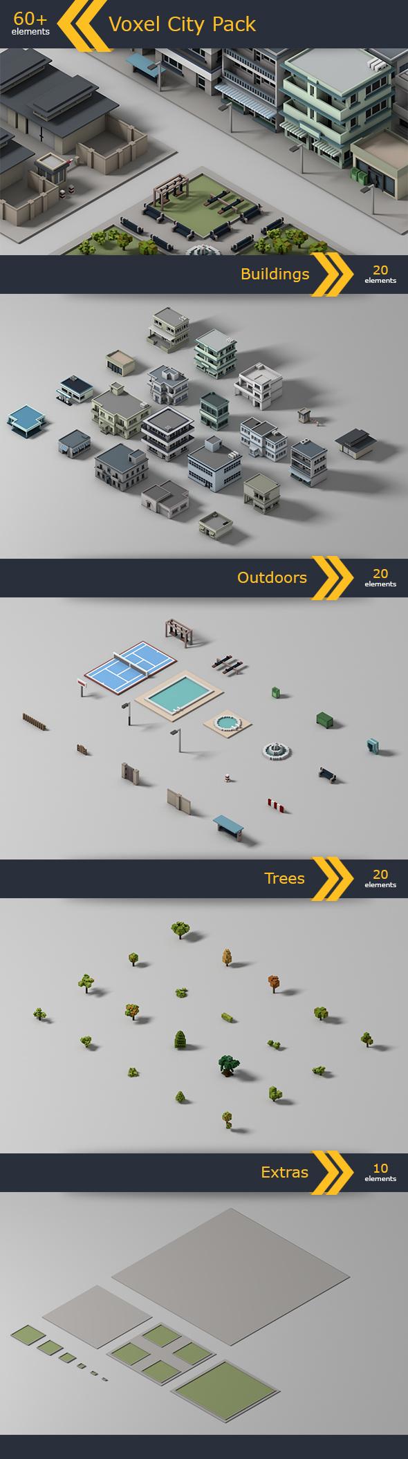Voxel City Pack - 3DOcean Item for Sale