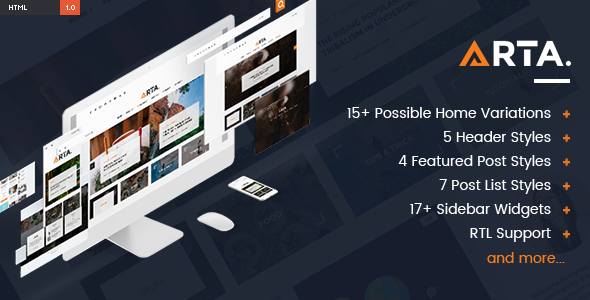 ARTA – Modern & Simple Blog HTML Template