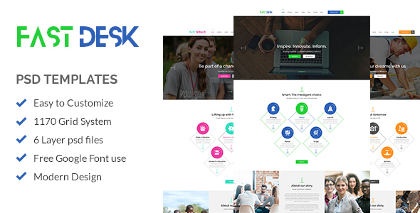 Fast Desk - Office, Food, Charity and Industry Psd Templates