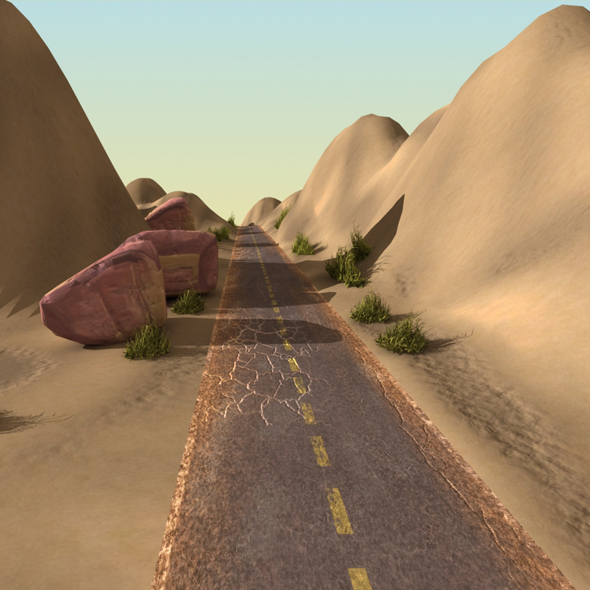 3DOcean Desert Landscape with Road 19462711