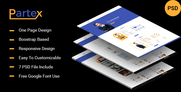 Partex - One page Resume/ CV & Personal Portfolio PSD Template