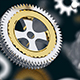 3D rendering of silver and gold gears