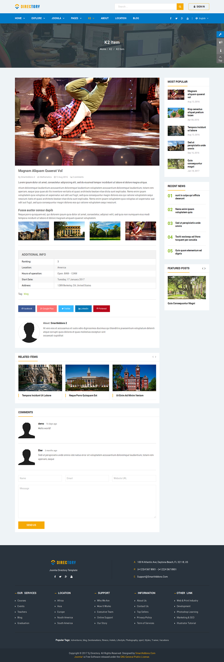 Directory Responsive Ultimate Directory Joomla Template