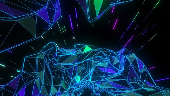 VideoHive Cosmic Polygonal Tunnel Trip VJ Loop 19465014