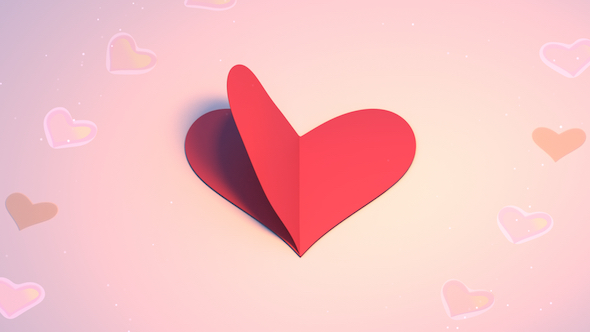 VideoHive 3D Heart Shape Paper Crafts Looped 19466732