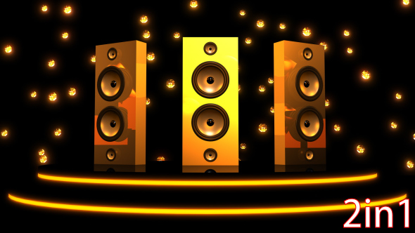 VideoHive Gold Neon Speaker VJ Loops 19467574