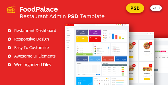 Admin FoodPalace - Dashboard Psd Template