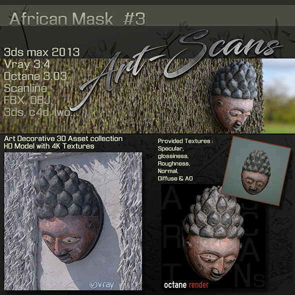 Art Scans African Mask #3 - 3DOcean Item for Sale