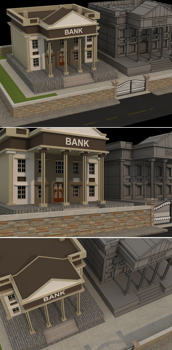 Bank Low Poly Model - 3DOcean Item for Sale