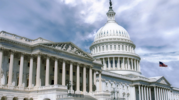 VideoHive National Capitol Building With Us Flag 19467843