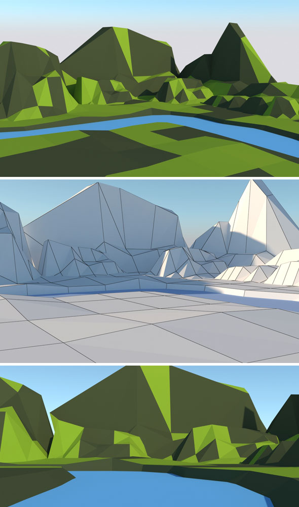 Low Poly Hills Water - 3DOcean Item for Sale