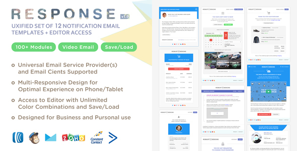 Response - UXified Responsive Set of 12 Notification Email Templates + Online Editor