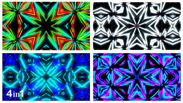 VideoHive Light Neon Flashing Kaleidoscope 4-Pack 19468319