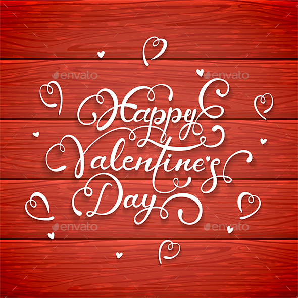 Happy Valentines Day on Red Wooden Background