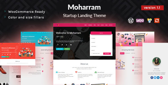 Moharram - Material Design Startup Landing WordPress Theme