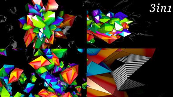 VideoHive Color 3D Mapping VJ Loop Pack 3in1 19471697