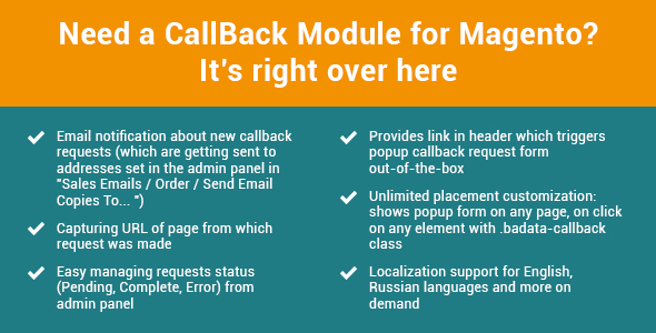 FastCallBack - call back tracking for Magento