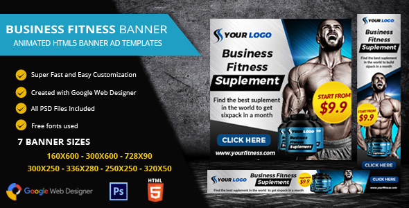 Download Fitness Ads Banner HTML5 - GWD