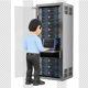 3D Information Technology Technician Working in Rack Network Server Room