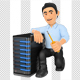 3D Information Technology Technician with a Server