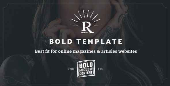 Regular - Bold Content Blog & Online Magazine Website Template