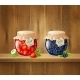 Jars with Jam on Wooden Shelf