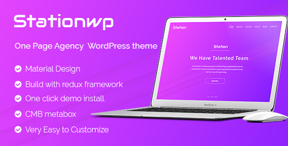 StationWP - One Page Agency  WordPress theme