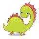 Smiling Dinosaur on a White Background
