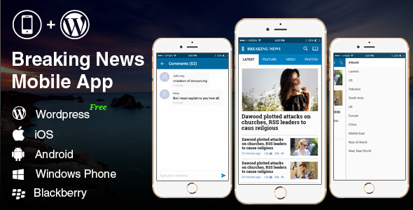 Complete Android, iOS Mobile Application – Breaking News two Blue (Complete Applications)