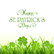Patricks Day Background with Green Clover and Grass