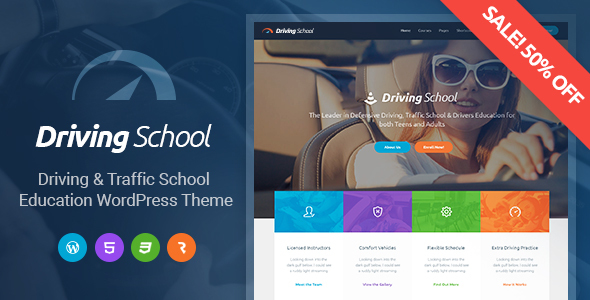 Фото Template Wordpress  Driving School - Car, Driving & Automobile WordPress Theme — preview discount new.  large preview